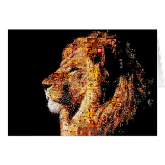Wild lion - lion collage - lion mosaic - lion wild card