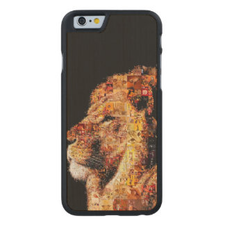 Wild lion - lion collage - lion mosaic - lion wild carved maple iPhone 6 case