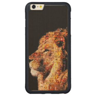 Wild lion - lion collage - lion mosaic - lion wild carved maple iPhone 6 plus bumper case