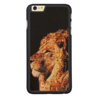 Wild lion - lion collage - lion mosaic - lion wild carved maple iPhone 6 plus case