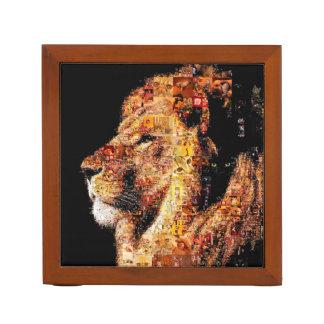 Wild lion - lion collage - lion mosaic - lion wild desk organizer