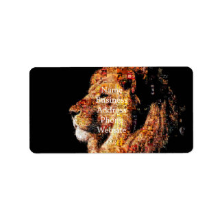 Wild lion - lion collage - lion mosaic - lion wild label