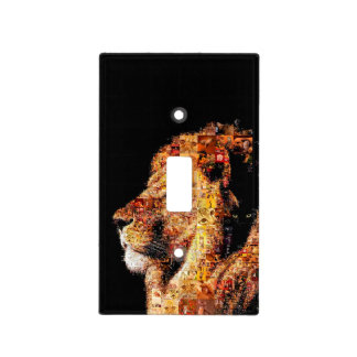 Wild lion - lion collage - lion mosaic - lion wild light switch cover
