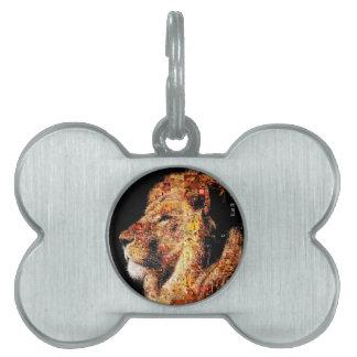 Wild lion - lion collage - lion mosaic - lion wild pet ID tag