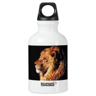 Wild lion - lion collage - lion mosaic - lion wild water bottle