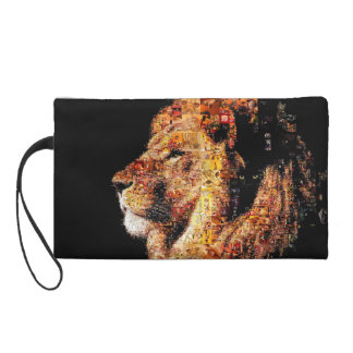 Wild lion - lion collage - lion mosaic - lion wild wristlet