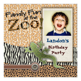 Wild Lizzard Safari Zoo Birthday Photo Invitation