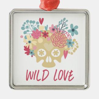 Wild Love Flowers Silver-Colored Square Ornament