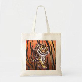 Wild Me Tiger Hot orange and Black Print Budget Tote Bag