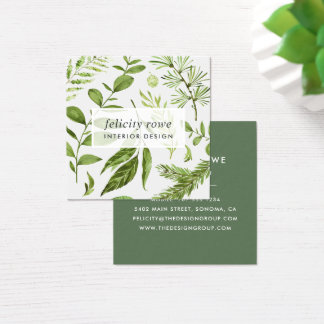 Wild Meadow | Botanical Print Square Business Card