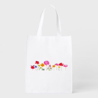 wild meadow flowers reusable grocery bags