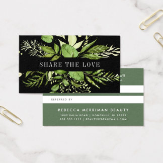 Wild Meadow | Green & Black Referral Business Card