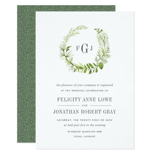 Wild Meadow Monogram Wedding Invitation