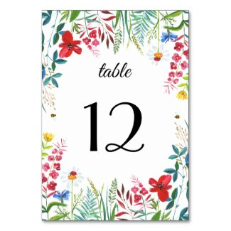 Wild Meadow | Wildflowers Wedding Table Numbers