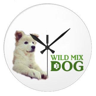 Wild mixed dog large clock