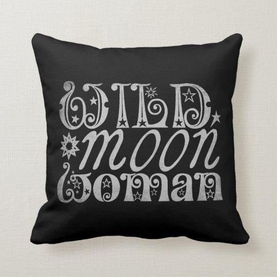 Wild Moon Woman Throw Pillow