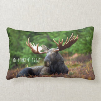 Wild Moose on Hill with Attitude in Forest Photo Lumbar Pillow