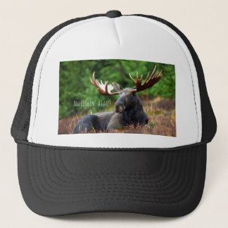 Wild Moose on Hill with Attitude in Forest Photo Trucker Hat