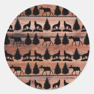 Wild Moose Wolf Wilderness Mountain Cabin Rustic Sticker