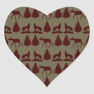 Wild Moose Wolf Wilderness Mountain Cabin Rustic Heart Sticker