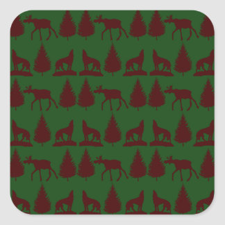 Wild Moose Wolves Pine Trees Rustic Green Maroon Stickers