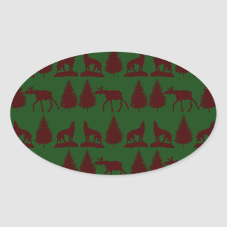 Wild Moose Wolves Pine Trees Rustic Green Maroon Oval Stickers