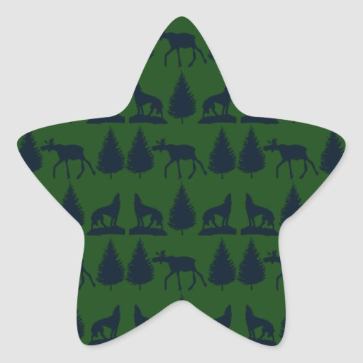 Wild Moose Wolves Pine Trees Rustic Green Navy Stickers