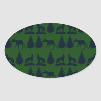 Wild Moose Wolves Pine Trees Rustic Green Navy Oval Sticker