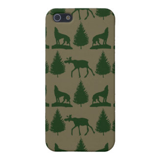 Wild Moose Wolves Pine Trees Rustic Tan Green iPhone 5 Case