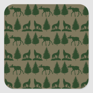 Wild Moose Wolves Pine Trees Rustic Tan Green Square Stickers