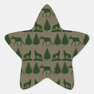 Wild Moose Wolves Pine Trees Rustic Tan Green Sticker