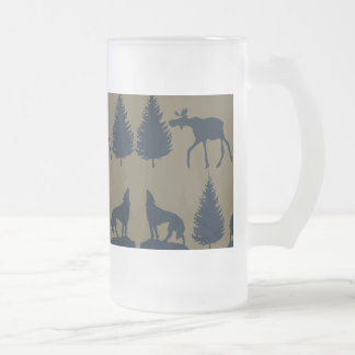 Wild Moose Wolves Pine Trees Rustic Tan Navy Blue Frosted Glass Beer Mug