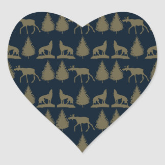Wild Moose Wolves Pine Trees Rustic Tan Navy Blue Stickers