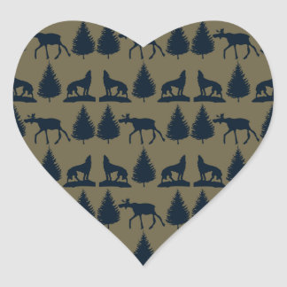 Wild Moose Wolves Pine Trees Rustic Tan Navy Blue Heart Stickers