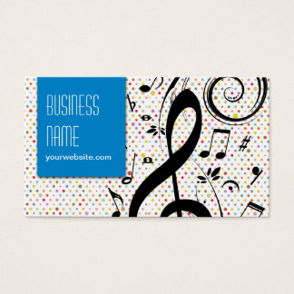 Wild Music Symbols Rainbow Polka Dot Business Card