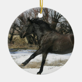 Wild Mustang Horse in the Snow 2 Ceramic Ornament
