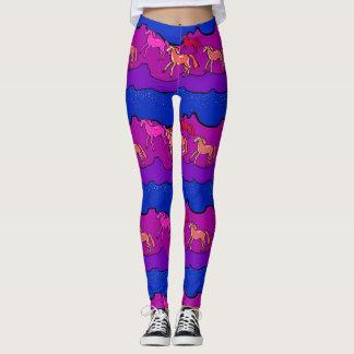 wild mustangs purple magenta printed leggings
