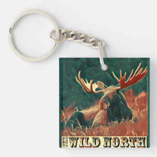 Wild North Moose Double-Sided Square Acrylic Keychain