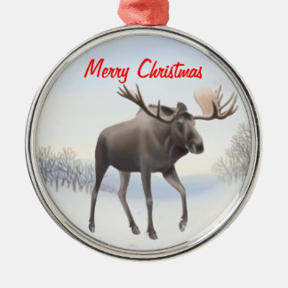 Wild Northern Moose Customizable Ornament