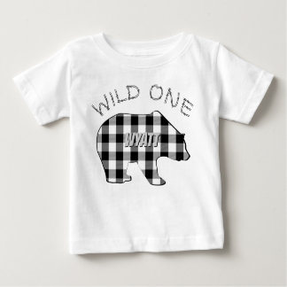 Wild One 1st Birthday Bear B&W Lumberjack Plaid Baby T-Shirt