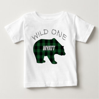 Wild One 1st Birthday Bear Green Lumberjack Plaid Baby T-Shirt