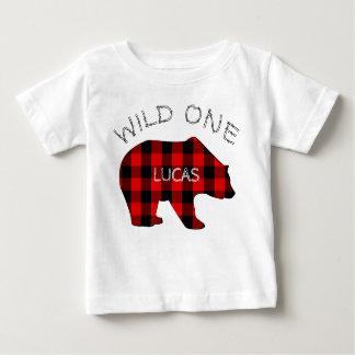 Wild One 1st Birthday Bear Lumberjack Plaid Baby T-Shirt