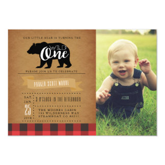 "Wild One Bear | First Birthday Party Photo 5"" X 7"" Invitation Card"