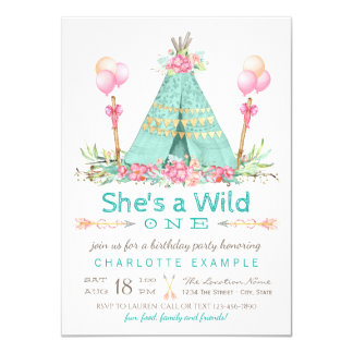 "Wild One Birthday Party Teepee First Birthday 4.5"" X 6.25"" Invitation Card"