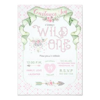 Wild One Birthday Pink Green Tribal Card