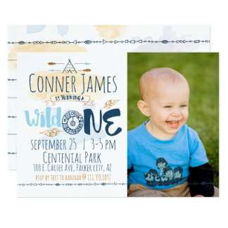 Wild One Boy First Birthday Invitation