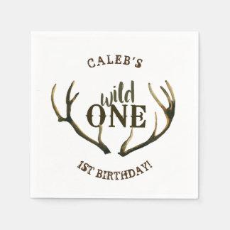 Wild One Deer Antlers Simple White 1st Birthday Napkin