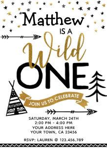 wild one birthday invitations announcements zazzle ca