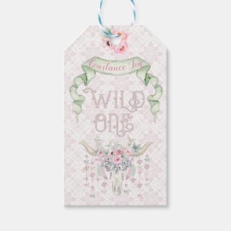 Wild One First Birthday Pink Green Tribal Gift Tags