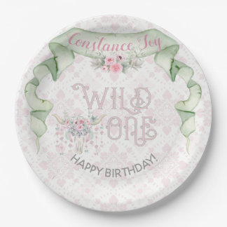 Wild One First Birthday Pink Green Tribal Paper Plate